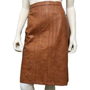 Simonton Says Brown Faux Leather Pencil Skirt Sz-8